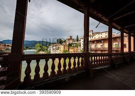 Bassano Del Grappa Town And The River Brenta View From The Bridge Of The Alpini (ponte Degli Alpini