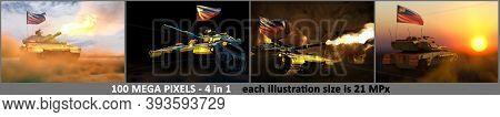 Liechtenstein Army Concept - 4 High Resolution Images Of Tank With Not Existing Design With Liechten
