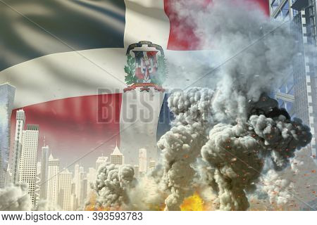 Huge Smoke Column With Fire In The Modern City - Concept Of Industrial Blast Or Terroristic Act On D