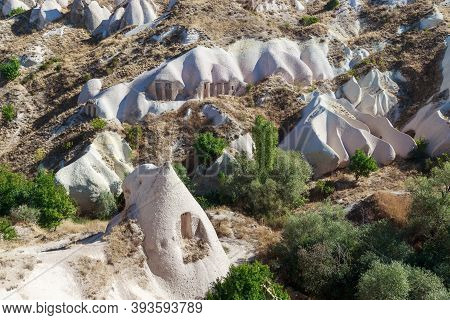 Uchisar, Turkey - October 4, 2020: These Are Geological Formations Of Tuff In The Pigeon Valley Of C