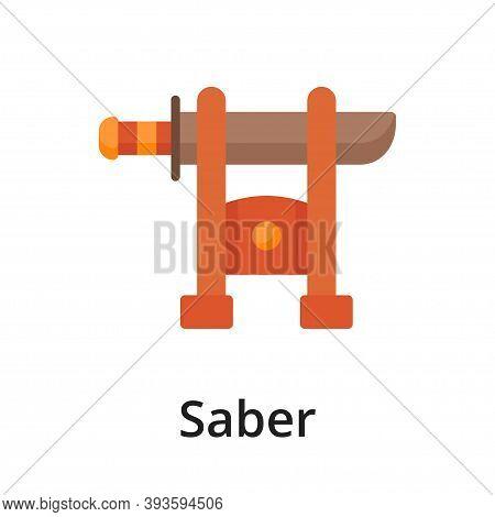 Saber Flat Vector Illustration. Single Object. Icon For Design On White Background