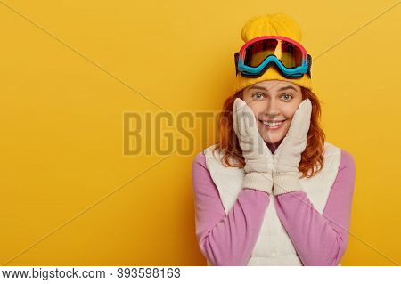 Travel Lifestyle, Winter, Adventure Concept. Smiling Redhead Snowboarder Girl Has Happy Expression,