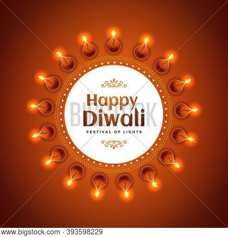 Decoration Of Illuminated Oil Lamps (diya) And Text For Happy Diwali Celebration. Vector Design.