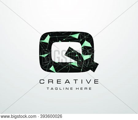 Letter Q Logo. Abstract Technology Q Letter Design, Made Of Various Geometry Chain Line Letter Logo