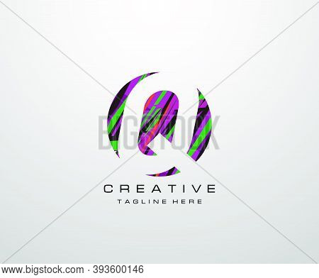 Letter Q Logo. Abstract Q Letter Design, Made Of Various Geometric Shapes In Color.