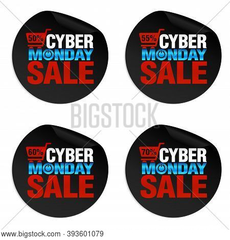 Concept Modern Stickers Cyber Monday Sale 50%, 55%, 60%, 70% Off. Vector Illustration