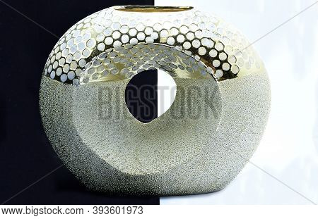 Outdoor Decorative Vase, Light Golden Color, Low, Decoration Design