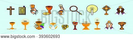Set Of Eucharist. Modern Cartoon Icon Design Template With Various Models. Vector Illustration Isola