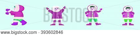 Set Of Eskimos And Their Clothes. Modern Cartoon Icon Design Template With Various Models. Vector Il