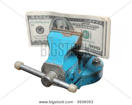 Dollars Being Squeezed In A Vise