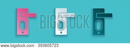 Paper Cut Fingerprint Door Lock Icon Isolated On Blue Background. Id App Icon. Identification Sign.