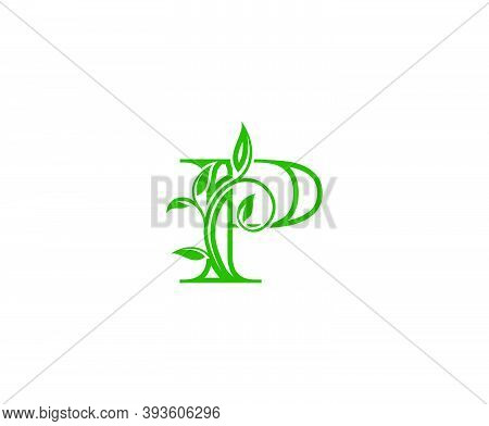 Letter P Logo. P Letter Design Vector With Green Color And Floral Hand Drawn Green Leaves.