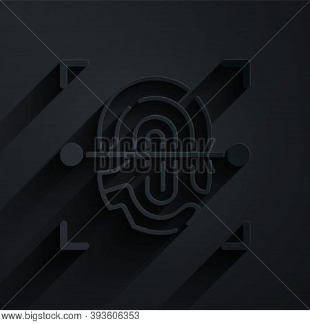 Paper Cut Fingerprint Icon Isolated On Black Background. Id App Icon. Identification Sign. Touch Id.