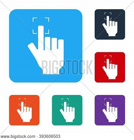 White Fingerprint Icon Isolated On White Background. Id App Icon. Identification Sign. Touch Id. Set