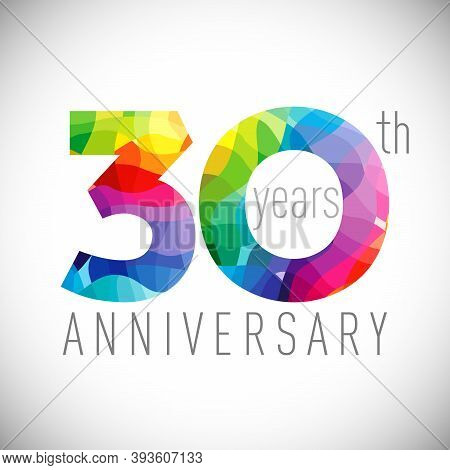 30th Anniversary Numbers. 30 Years Old Logotype. Bright Congrats. Isolated Abstract Graphic Design T