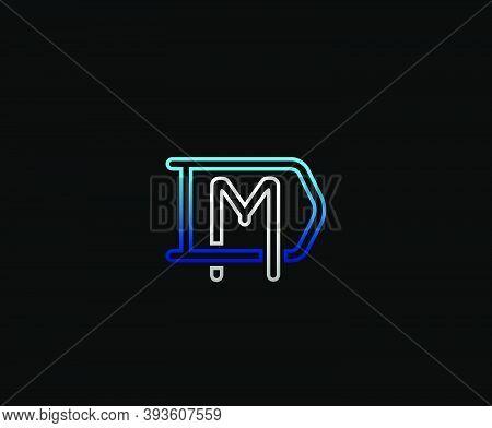 Initial Letter D And M, Dm, Md, Overlapping Interlock Logo, Monogram Line Art Vintage Style On Black