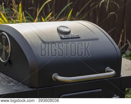 03.10.2020 Russia, Moscow Region. Char-broil Charcoal Grill With Lid. Barbecue Equipment