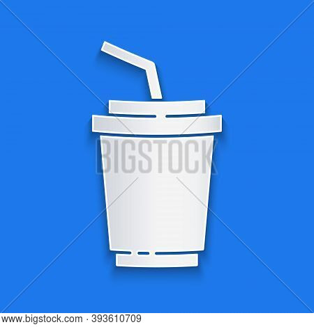 Paper Cut Paper Glass With Drinking Straw And Water Icon Isolated On Blue Background. Soda Drink Gla