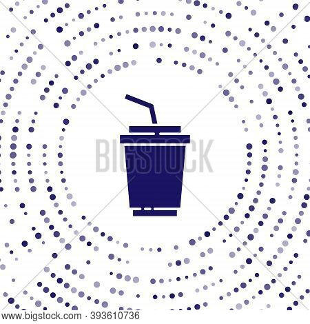 Blue Paper Glass With Drinking Straw And Water Icon Isolated On White Background. Soda Drink Glass.