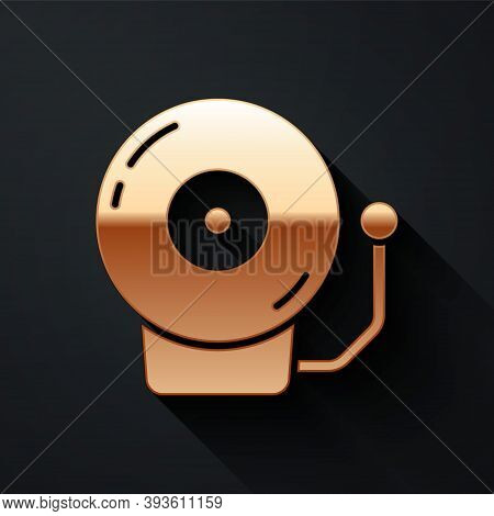 Gold Ringing Alarm Bell Icon Isolated On Black Background. Alarm Symbol, Service Bell, Handbell Sign