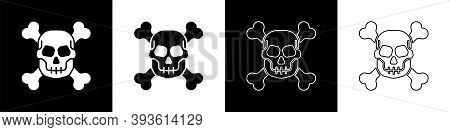 Set Skull On Crossbones Icon Isolated On Black And White Background. Happy Halloween Party. Vector