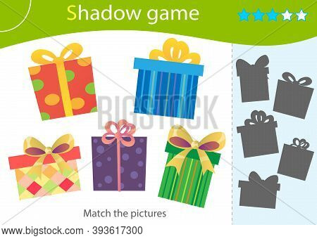 Shadow Game For Kids. Match The Right Shadow. Color Image Of Holiday Boxes, Souvenirs And Gifts. Wor