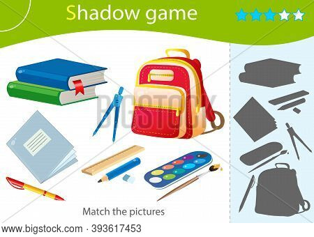 Shadow Game For Kids. Match The Right Shadow. Color Images Of School Supplies. Textbooks, Pencil, Ru