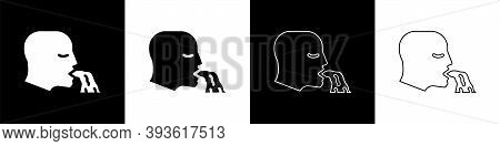 Set Vomiting Man Icon Isolated On Black And White Background. Symptom Of Disease, Problem With Healt