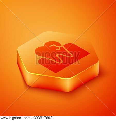 Isometric Tooth With Caries Icon Isolated On Orange Background. Tooth Decay. Orange Hexagon Button.