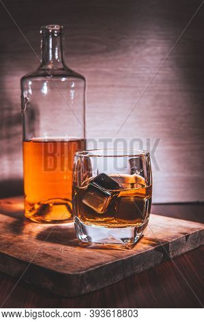 Selective Focus Glasses Of Whiskey On Rustic Wood Background, Alcohol Drink Whiskey Or Bourbon With