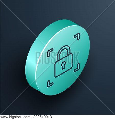 Isometric Line Fingerprint With Lock Icon Isolated On Black Background. Id App Icon. Identification