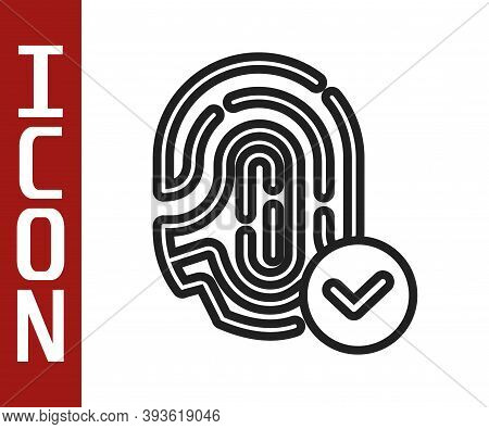 Black Line Fingerprint With Check Mark Icon Isolated On White Background. Id App Icon. Identificatio
