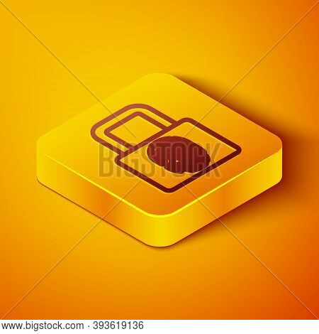 Isometric Line Fingerprint With Lock Icon Isolated On Orange Background. Id App Icon. Identification