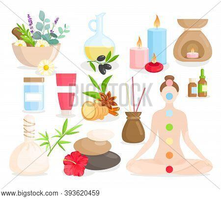 Ayurveda Medicine Cartoon Set, Ayurvedic Collection With Body Care Items, Natural Herbs, Flowers.