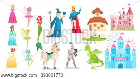 Fairy Tale Character Set, Cartoon Princess, Prince Knight With Sword, King In Crown, Medieval Castle