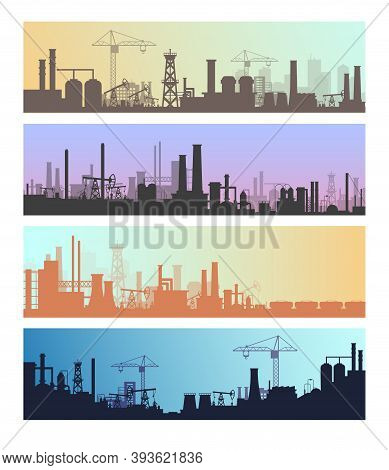 Manufacture Industrial Landscapes Vector Illustrations, Cartoon Flat Urban Refinery Panorama Skyline