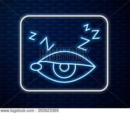 Glowing Neon Line Insomnia Icon Isolated On Brick Wall Background. Sleep Disorder With Capillaries A