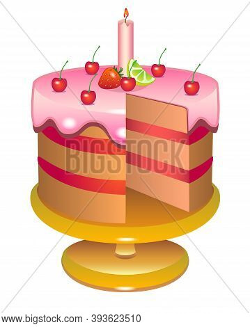 Cake On A Cake Stand. Cake Cut Without One Piece - Full Color Stock Illustration Cake With Lemon Ici