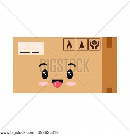 Cute Parcel Box Character Icon Isolated On White Background. Cardboard Closed Sealed With Tape Boxe