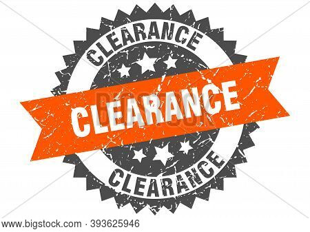 Clearance Grunge Stamp With Orange Band. Clearance