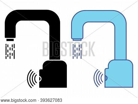 Automatic Faucet Vector Icon. Modern Water Crane. Automated Touchless Restroom Equipment With Sensor