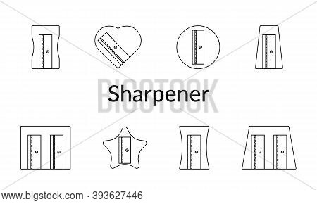 Vector Set Of Pencil Sharpeners Icons. Black-white, Linear Illustrations. Minimalistic Design. For W