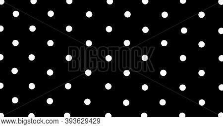 Big White Polka Dots On Black, Seamless Background. Seamless Pattern Of Large White Polka Dots On A