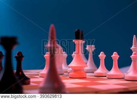 Checkmate Chess Pieces On Chessboard. Chess Opening Tournament Announcement Background.