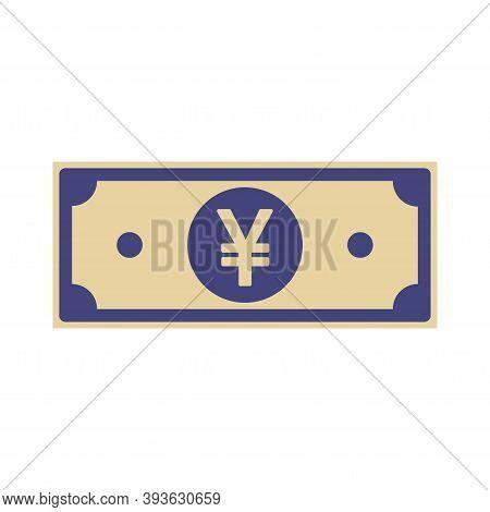 Chinese Yuan Paper Notes Isolated On White Background. Cny Icon, Cartoon Imitation. China Money Flat