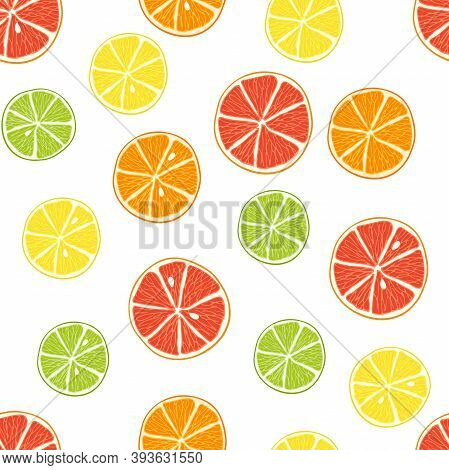 Seamless Pattern With Citrus. Slices Of Lime, Orange, Grapefruit, Lemon. Bright Pieces On White Back
