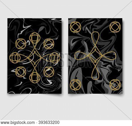 Cards With Black Marble Background Texture And Gold Glitter Geometric Line Vector.