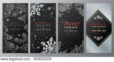 Christmas Poster Set On Black. Vector Illustration Of Christmas Background With Branches Of Christma