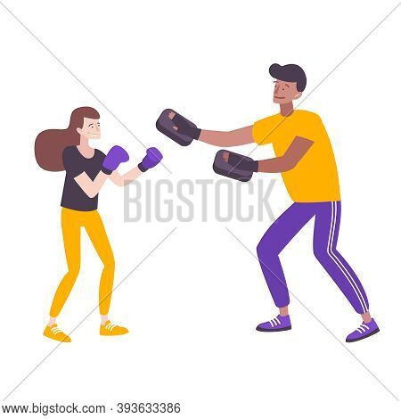 Self Defense Flat Composition With Doodle Style Characters Of Boxing Woman And Male Instructor Vecto