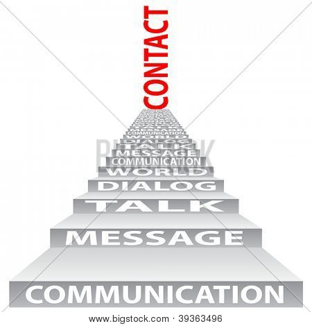 High resolution concept or conceptual red text on stair isolated on white background as metaphor for communication,speech,message,mail,relation,dialog,talk,report,contact,stair, climb,email,internet